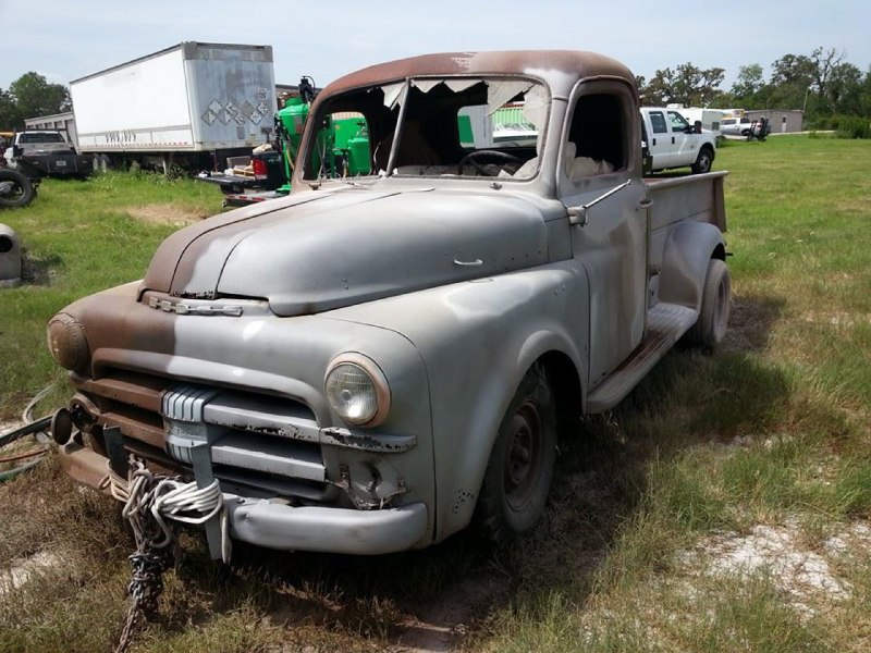classic truck during dustless blasting