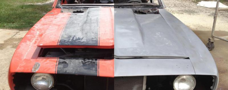 automobile during dustless blasting