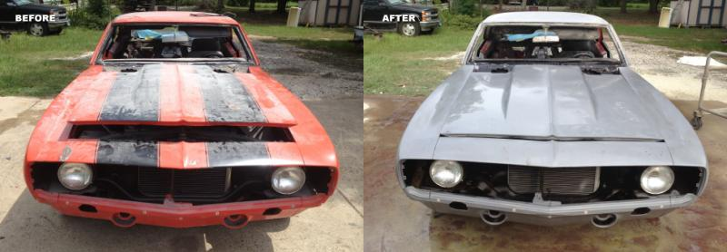 automobile before and after dustless blasting