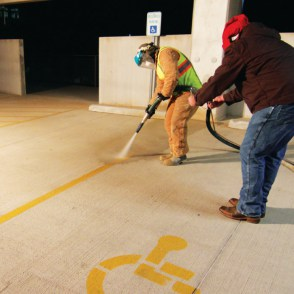 parking stripe removal by dusstless blasting direct